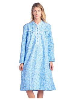 Casual Nights Women's Flannel Floral Long Sleeve Nightgown