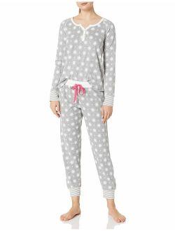 Zon Brand - Mae Women's Sleepwear Vintage Thermal Loose Fit Henley Pajama Set