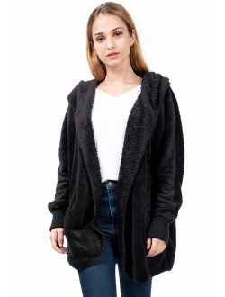 Hem and Thread Women's Fashion Long Sleeve Hooded Open Front Fluffy Oversized Soft Fur Jacket with Pockets Cozy Warm Winter