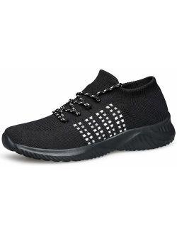 WUTANGCUN Women's Walking Shoes Casual Fashion Sneakers Mesh Breathable Socks.