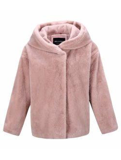 Bellivera Women's Faux Fur Jacket Faux Fleece Jacket with Fur Collar, The Coat Worn on Both Sides
