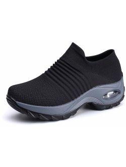GZTEESER Womens Slip on Sneaker Comfortable Walking Shoe Air Cushion Work Shoe