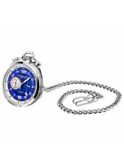 Mens Pocket Watch With Stand, Stainless Steel Case And Blue Dial