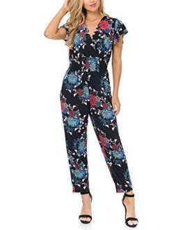 Auline Collection Womens Short Cap Sleeve V-Neck Long Pants Romper Jumpsuit