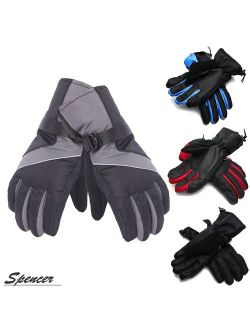 """Spencer Outdoors Waterproof Men's Ski Gloves Winter Warm Snowboard Gloves with Wrist Leashes for Skiing, Snowboarding, Shoveling """"Gray"""""""