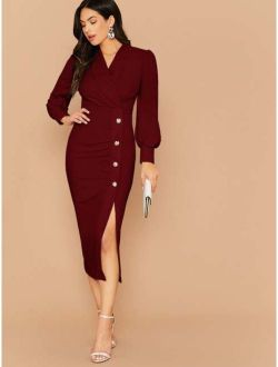 Shawl Collar Lantern Sleeve Buttoned Split Hem Dress