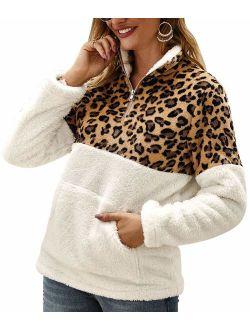 ETCYY Women's Leopard Print Fluffy Sherpa Fleece Sweatshirts Zipper Pullover Outwear with Pockets