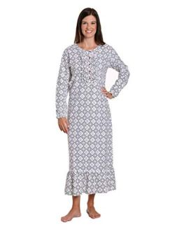 Noble Mount Long Nightgowns for Women - 100% Cotton Flannel Nightgown