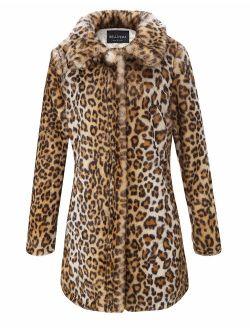 Bellivera Womens Leopard Print Fluffy Cardigan Faux Fur Fuzzy Faux Fleece Coat