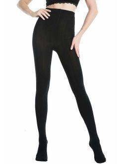 WiliW Women's Black Tights Opaque Control Top Hold & Stretch (Footed/Footless) 1 Pairs