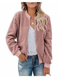 MIROL Women's Sherpa Fleece Jacket Faux Fuzzy Long Sleeve Casual Zip Up Bomber Coat with Pockets