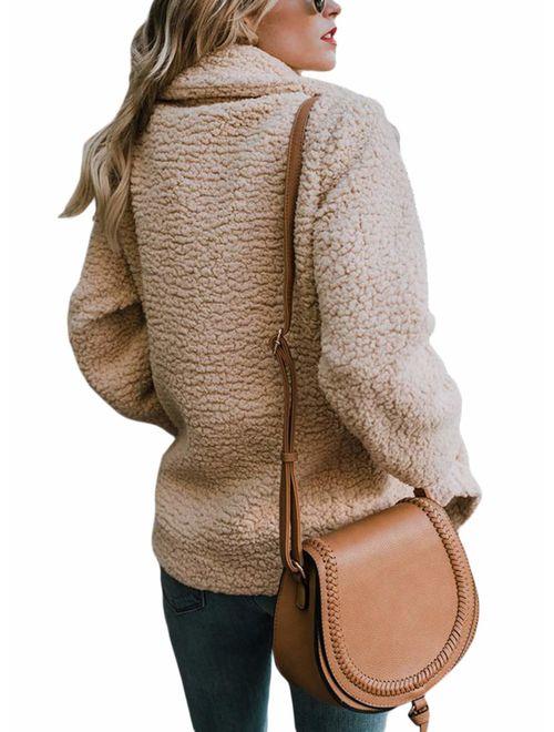 Malaven Women's Winter Fluffy Fuzzy Open Front Cardigan Jacket Coat Outwear with Pockets