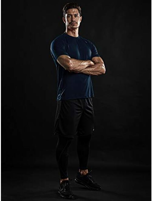 DRSKIN Men's Cool Quick Dry Sun Protection Short Sleeve Rash Guard Swim Sports Tee Shirt UPF 50+