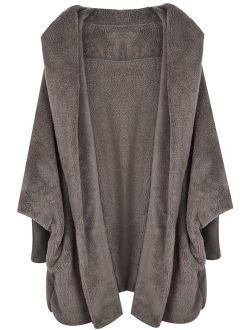 Women Khaki Hooded Dolman Sleeve Faux Fur Cardigan Coat For Winter
