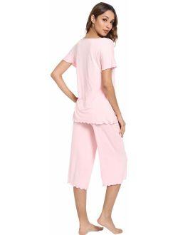 WiWi Womens Bamboo Plus Size Pajama Set Comfy Sleepwear Capri Pants Pjs S-4X