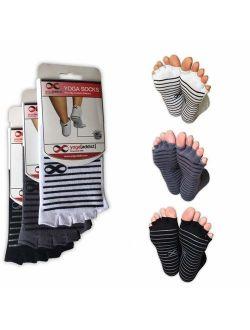 YogaAddict Toeless Socks Yoga, Pilates, Dance, Barre, Half Toe with Grips, Anti Non Slip Skid, Size S/M, 1 & 3 Pairs