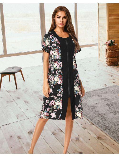 UUANG Women Zipper Robe Short Sleeve Loungewear Knee Length Nightgown Duster Housecoat with Pockets S-XXL