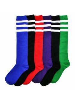Angelina Referee Knee High Socks with White Stripes