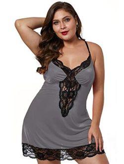 BLMFAION Women Sexy Plus Size Satin Chemise Babydoll Silky Lingerie Dress with Lace Trim X-5X