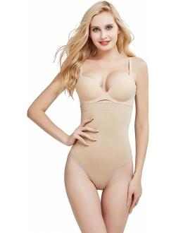 DREAM SLIM Women's High-Waist Seamless Body Shaper Briefs Firm Control Tummy Thong Shapewear Panties Girdle Underwear