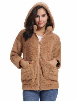 Abollria Women's Long Sleeve Coat Casual Lapel Fleece Fuzzy Faux Shearling Zipper Warm Winter Oversized Outwear Jackets
