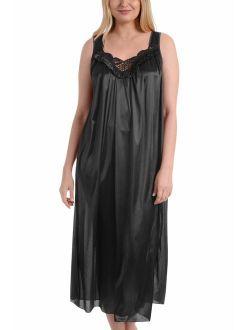 Ezi Women's Satin Silk Sleeveless Lingerie Long Nightgowns