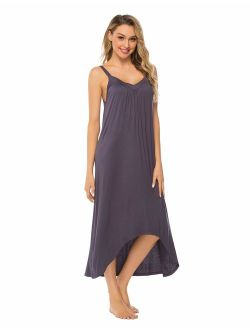 FINWANLO Womens Sleeveless Long Nightgown Cotton V Neck Sleepwear Full Slip Night Dress Chemise