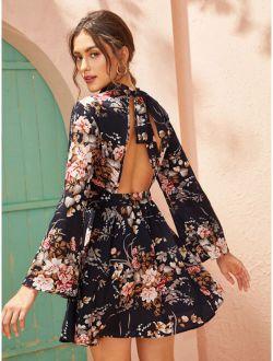 Tie Open Back Self Belted Floral Print Dress