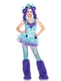 Leg Avenue Women's Two-Piece Polka Dotty Dress with Tutu Skirt And Furry Monster Hood