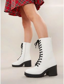 Lace Front Lug Sole Block Heel Military Boots