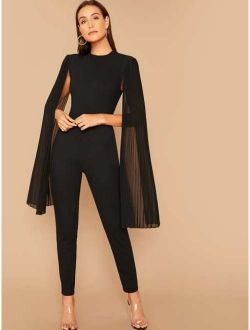 Solid Pleated Cape Jumpsuit