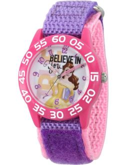 Princess Belle Girls' Pink Plastic Time Teacher Watch, Purple Hook and Loop Nylon Strap with Pink Backing