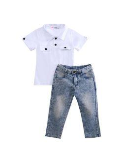 2pcs Fashion Cool Boy Toddler Kids Baby Boy T-shirt Top+Jeans Pants Trousers Clothes Outfits Sets