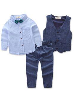 Cool Gentleman Toddler Kids Boy Cotton Bow-tie Waistcoat T-shirt Pants Suit Sets