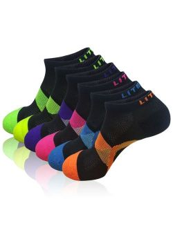 LITERRA Womens Low Cut Ankle Athletic Socks Colorful Sports Running Socks 6 Pack