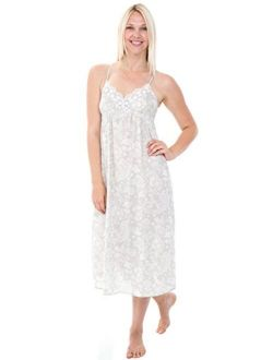 Women's Lightweight Cotton Lawn Nightgown - Long Victorian Style Pajamas, Full Length