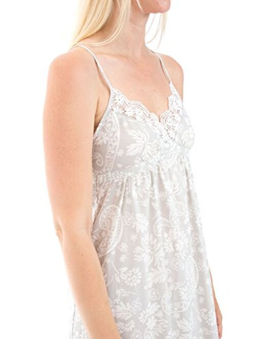 Alexander Del Rossa Women's Lightweight Cotton Lawn Nightgown - Long Victorian Style Pajamas, Full Length