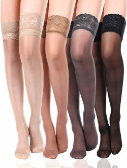 4 Pairs Women Thigh High Stocking Silicone Lace Top Stockings Silky Stocking Tights for Women Girls