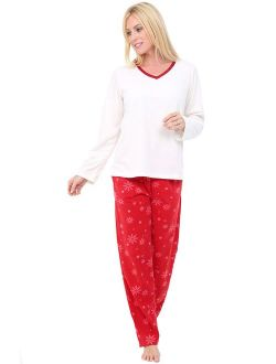 Women's Warm Fleece Pajamas, Long V Neck Pj Set