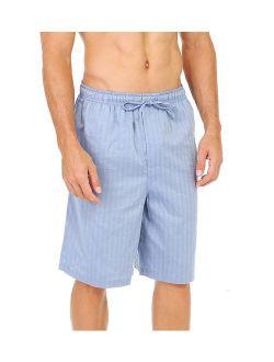 Men's Soft Woven 100% Cotton Elastic Waistband Sleep Pajama Short Shorts