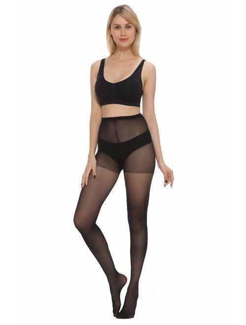 MANZI Women's Pantyhose 6-Pack Sheer Nylon Tights 20-Denier Basic Hosiery
