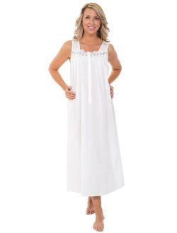 Womens 100% Cotton Lawn Nightgown, Sleeveless Sleep Dress