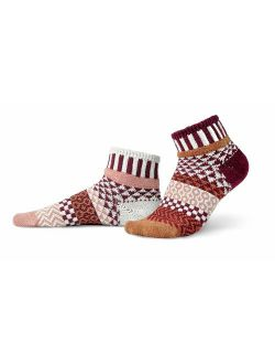 Solmate Socks Mismatched Quarter Length Socks for Women/Men, USA Made with Recycled Yarns
