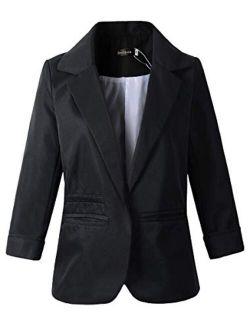 Women's 3/4 Sleeve Boyfriend Blazer Tailored Suit Coat Jacket