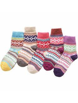 Amberzina Women's Vintage Style Wool Thick Warm Socks(5 Pairs)