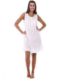 Womens 100% Cotton Lawn Nightgown, Sleeveless Chemise