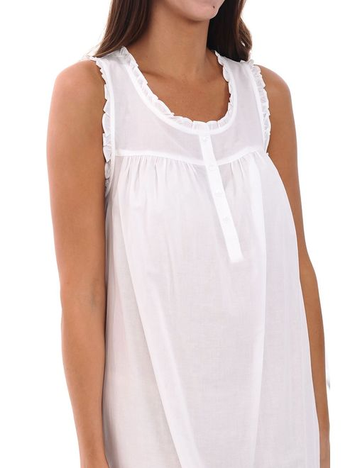 Alexander Del Rossa Womens 100% Cotton Lawn Nightgown, Sleeveless Chemise