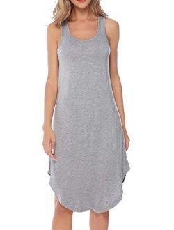 Aibrou Women's Cotton Nightgown Sleeveless Racerback Nightshirt Dress Sleepwear