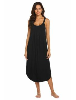 Women's Sleeveless Long Nightgown Summer Full Slip Sleep Dress Soft Nightshirt Chemise Sleepwear Lounge Dresses