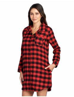 D & Brooks Women's Flannel Plaid Sleep Shirt Button Down Nightgown